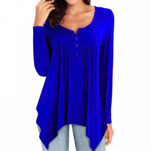 Ruffled Full Sleeves Button Closure Irregular Blouse Top - Blue