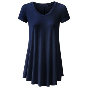 Round Neck Fitted Short Sleeves Ruffled Blouse Top - Dark Blue