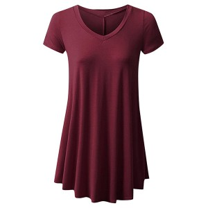 Round Neck Fitted Short Sleeves Ruffled Blouse Top - Wine Red