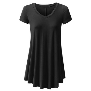 Round Neck Fitted Short Sleeves Ruffled Blouse Top - Black