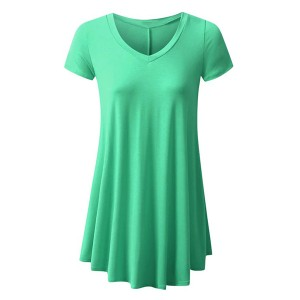 Round Neck Fitted Short Sleeves Ruffled Blouse Top - Light Green