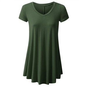 Round Neck Fitted Short Sleeves Ruffled Blouse Top - Army Green