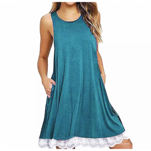 Sleeveless Round Neck Lace Patched Contrast Mini Dress - Light Blue