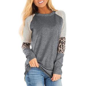 Printed Full Sleeves Round Neck Contrast T-Shirt - Dark Gray