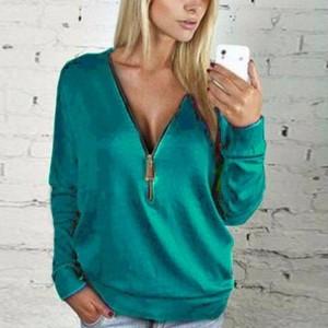 Zipper Closure Loose Wear Solid Color Vintage Top - Green