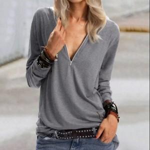 Zipper Closure Loose Wear Solid Color Vintage Top - Gray