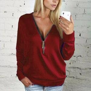 Zipper Closure Loose Wear Solid Color Vintage Top - Wine Red