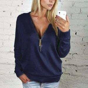 Zipper Closure Loose Wear Solid Color Vintage Top - Dark Blue