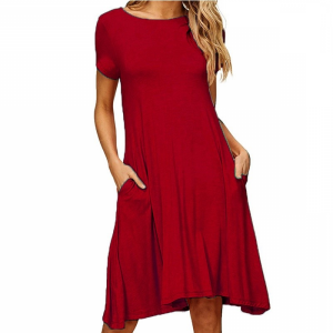 Round Neck A-Line Solid Color Short Sleeves Dress - Wine Red
