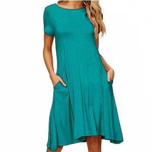 Round Neck A-Line Solid Color Short Sleeves Dress - Light Blue