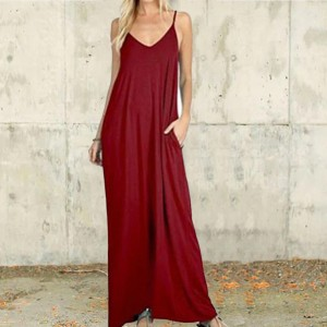 Spaghetti Strap Solid Color Maxi Full Length Dress - Wine Red