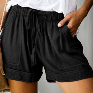 Elastic String Waist Solid Color Casual Shorts - Black