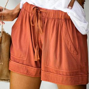 Elastic String Waist Solid Color Casual Shorts - Orange