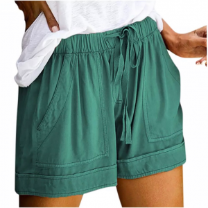 Elastic String Waist Solid Color Casual Shorts - Green