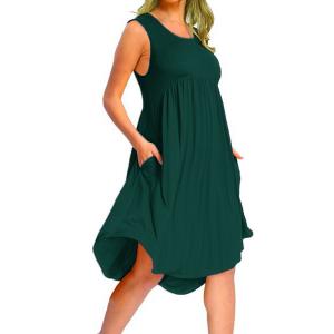 Sleeveless A-Line Ruffled Solid Color Mini Dress - Dark Green
