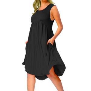 Sleeveless A-Line Ruffled Solid Color Mini Dress - Black
