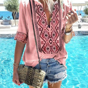 Thread Art Embroidery Outdoor Fashion Casual Blouse Top - Pink