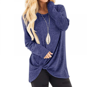 Mesh Pattern Full Sleeves Knot Style Fashion Top - Dark Blue