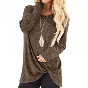 Mesh Pattern Full Sleeves Knot Style Fashion Top - Coffee