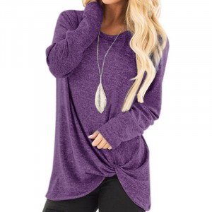 Mesh Pattern Full Sleeves Knot Style Fashion Top - Purple