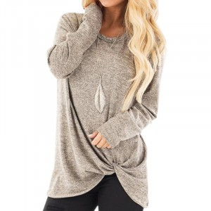 Mesh Pattern Full Sleeves Knot Style Fashion Top - Light Gray