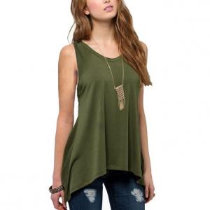 Irregular Solid Color Sleeveless Vintage Fashion Top - Green