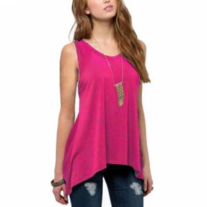 Irregular Solid Color Sleeveless Vintage Fashion Top - Rose Red