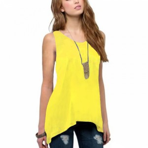 Irregular Solid Color Sleeveless Vintage Fashion Top - Yellow
