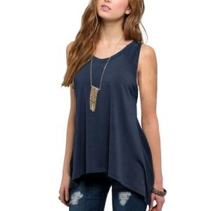 Irregular Solid Color Sleeveless Vintage Fashion Top - Dark Blue