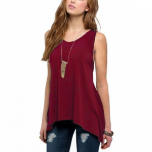 Irregular Solid Color Sleeveless Vintage Fashion Top - Wine Red