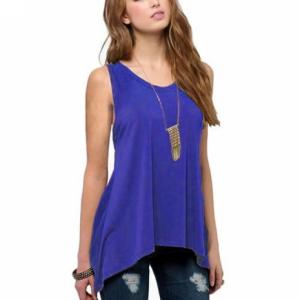 Irregular Solid Color Sleeveless Vintage Fashion Top - Blue