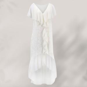 Floral V Neck Sleeves Chiffon Comfy Wear Women Dress - White
