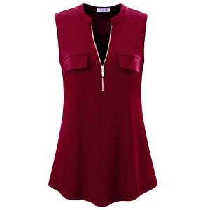 Zipper Closure Stand Neck Sleeveless Blouse Top - Wine Red