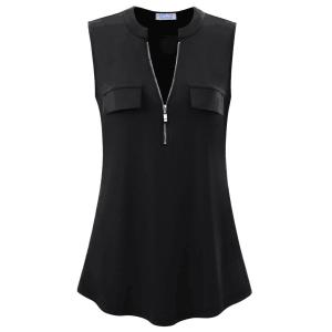 Zipper Closure Stand Neck Sleeveless Blouse Top - Black