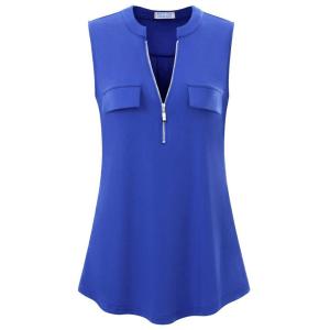 Zipper Closure Stand Neck Sleeveless Blouse Top - Blue