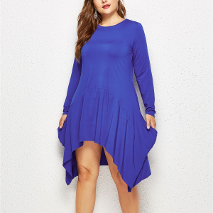 Solid Color Round Neck Long Sleeves Plus Size Dress - Blue