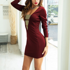 Deep V Neck Style Party Wear Body Fitted Dress - Wine Red
