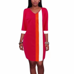 Contrast Half Sleeves Midi Length Dress - Red