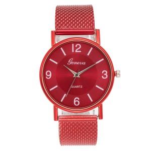 Luxury Wrist Steel Band Women Analog Fashion Watch - Red