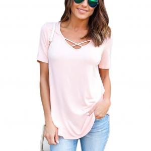 Crossed V Neck Solid Color Summer Blouse Top - Pink