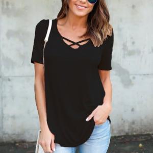 Crossed V Neck Solid Color Summer Blouse Top - Black