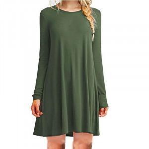 Full Sleeves Solid Color Ruffled Mini Dress - Green