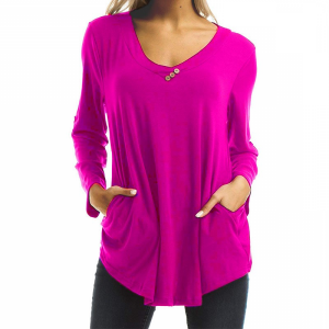 Button Patched Solid Color Full Sleeves Blouse Top - Hot Pink