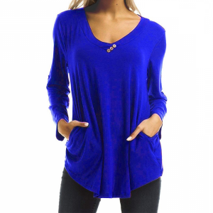 Button Patched Solid Color Full Sleeves Blouse Top - Blue