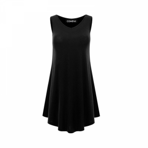 Sleeveless V Neck Solid Color Ruffled Mini Dress - Black