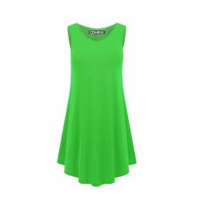 Sleeveless V Neck Solid Color Ruffled Mini Dress - Verde Green
