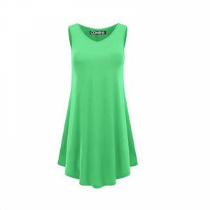 Sleeveless V Neck Solid Color Ruffled Mini Dress - Light Green