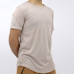 Round Neck Fitted Mesh Pattern Summer Men T-Shirt - Coffee