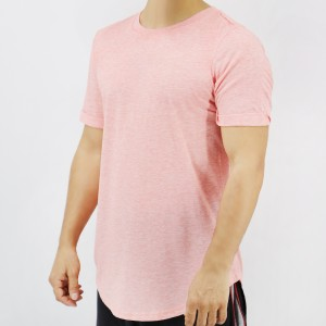 Round Neck Short Sleeves Summer Wear Men T-Shirt - Light Red