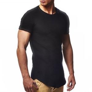 Round Neck Short Sleeves Summer Wear Men T-Shirt - Black